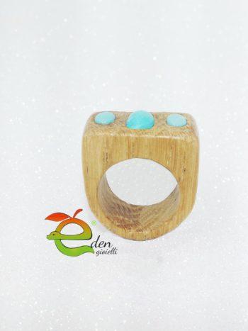 anello in legno con turchese eden gioielli