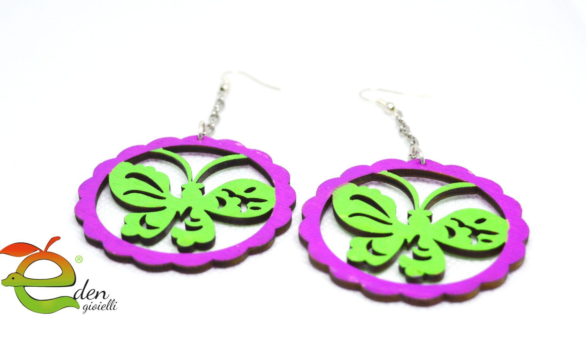 Orecchini Farfalla Legno e Argento Eden Gioielli